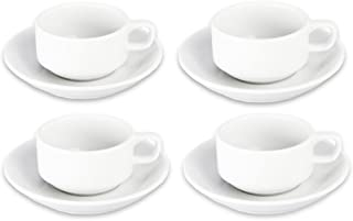 BIA Cordon Bleu Bistro Espresso Cup and Saucer, Set of 4, White (901610S4)