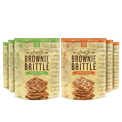 Sheila G's Brownie Brittle BLONDIE Fall Variety Pack Pumpkin Spice & Caramel Apple-Low Calorie, Healthy Thin Sweet Crispy Snack-Rich Blondie Taste with a Cookie Crunch- 5oz, Pack of 6