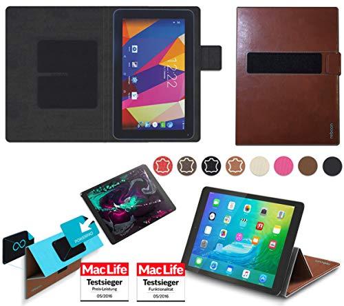 reboon Hülle für Captiva Pad 10 3G Plus Tasche Cover Case Bumper | in Braun Leder | Testsieger