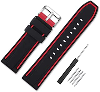 Narako Silicone Watch Bands Divers Model Replacement Rubber Watch Strap 20mm 22mm 24mm 26mm Waterproof Line Bicolor Silver Buckle for Men and Women Sport