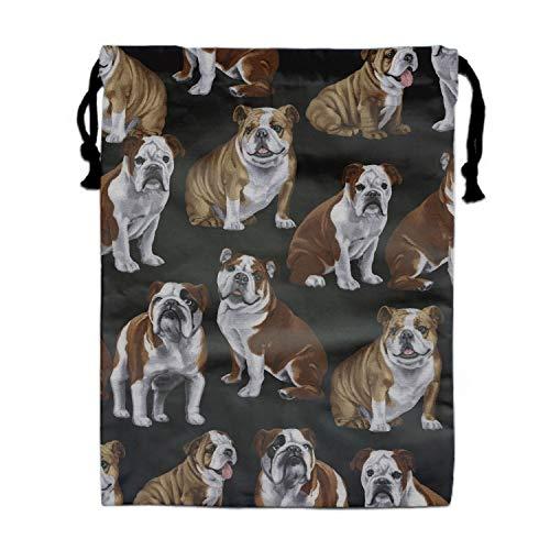 English Bulldogs Travel Drawstring Bag Shoe Laundry Underwear Makeup Storage Pouch 15.75 x 11.8 inch