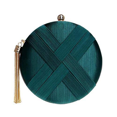 Kentop - Bolso de mano para mujer, de seda, redondo, para bodas, fiestas, fiestas de baile 18×18×5.5cm verde