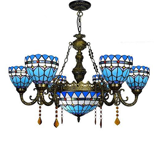 Techo de la sala Luz lámparas clásicas británicas de control remoto azul del Mediterráneo creativa salón comedor dormitorio larga araña de cristal