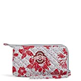 Vera Bradley Collegiate Front Zip Wristlet with RFID Protection (Multiple Teams Available), The Ohio State University Gray/Red Rain Garden-Recycled Cotton