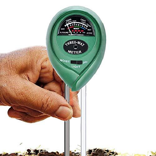 Medidor de Suelo 3 en 1 Medidor de Humedad del Suelo Sensor de Humedad Medidor Digital de la Humedad del Suelo y la Acidez del PH para Plantas Jardín Granja Interior Exterior No Necesita Batería