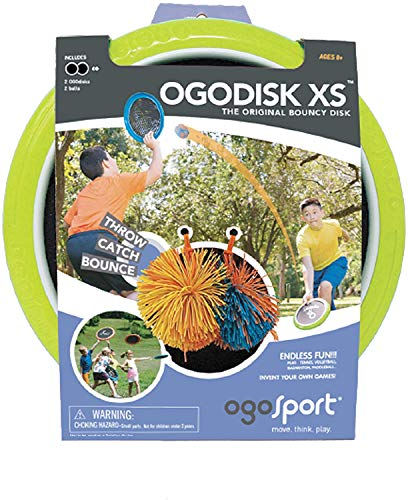 OgoDisk XS Disc Set with 2 Rubber Koosh Balls - Outdoor Bouncy Disk Game for Lawn & Pool - Throw, Toss & Catch - Kids & Adults 4+