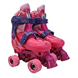 PlayWheels Disney Frozen Kids Glitter Roller Skates with Knee Pads