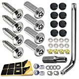 ZXFOOG Anti Theft License Plate Screws- Stainless Steel Bolts Fasteners Kits for Car Tag Frame Holder, Tamper Resistant Mounting Hardware,1/4