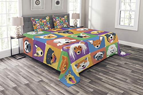 Ambesonne Dog Bedspread, Dog Breeds Profiles Pets Shepherd Terrier Labrador Domestic Animals Illustration, Decorative Quilted 3 Piece Coverlet Set with 2 Pillow Shams, King Size, Green Purple
