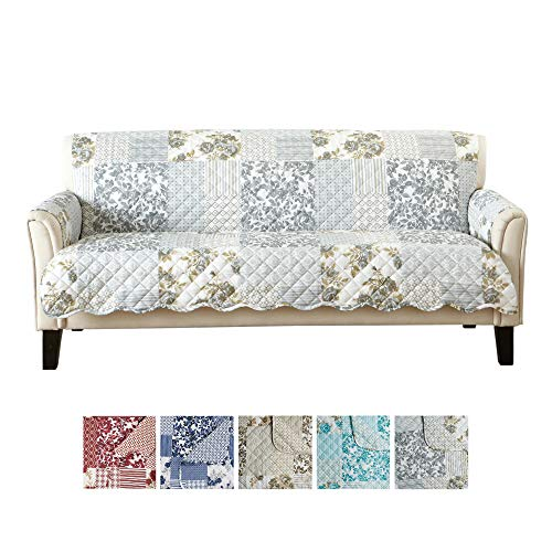 Patchwork Scalloped Printed Furniture Protector. Stain Resistant Couch Cover. (Sofa, Grey)