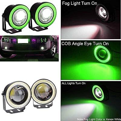 Favorfog Likethy Car White Fog Light Ring SUV COB Halo Driving LED DRL Projector Lens 30W