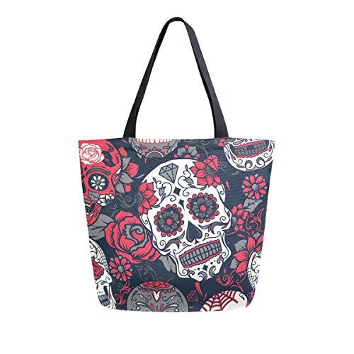 ZZXXB Bolsa de compras reutilizable con diseño de calavera y flores, bolsa...