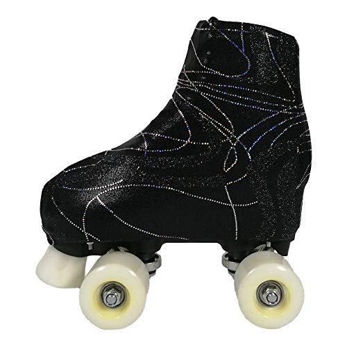 GISI Danza Copripattini in Lurex Skate per Pattinaggio - 100% Made in Italy (S - Misura Pattini 34/36, Nero)