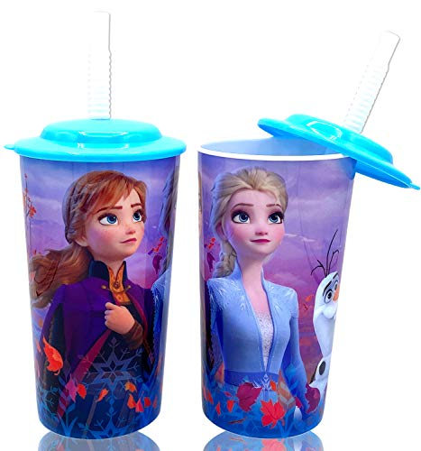 Disney Frozen 2 Elsa Anna Drink Tumblers with Lid, Reusable Straw Set for Kids Girls Toddlers, Pack of 2 - Safe BPA free