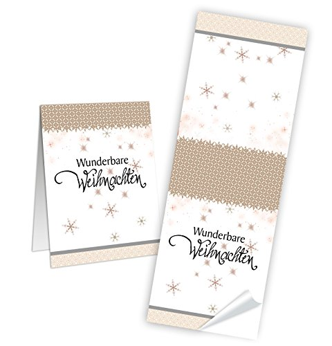 50 Aufkleber Sticker WUNDERBARE WEIHNACHTEN Geschenkaufkleber Sterne weiß natur beige Weihnachtsaufkleber Verpackung Papiertüten Banderolen Verschließen von Geschenken - Verpackung