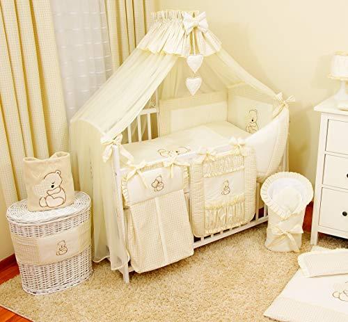 Baby-Bettwaren, Komplettset XL,10-teilig, Bettwäsche, 100% Baumwolle mit Stickerei + Moskitonetz, mit Teddy/Bär besticktes Motiv, für Mädchen oder Jungen (Hellbeige, 120x60cm)