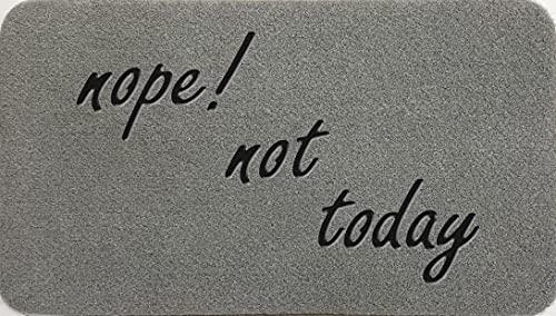 Nope Not Today - Felpudo de fibra de coco sintético de nailon gris claro, marrón, crema, verde