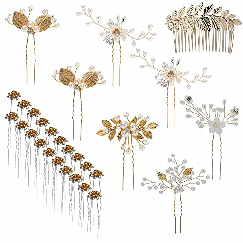 inSowni 28 Pack Wedding Bridal Hair Side Combs+U Shaped Hair Pins Clips Pieces Accessories Rhinestone Pearl Flower Gold for Women Girls Brides