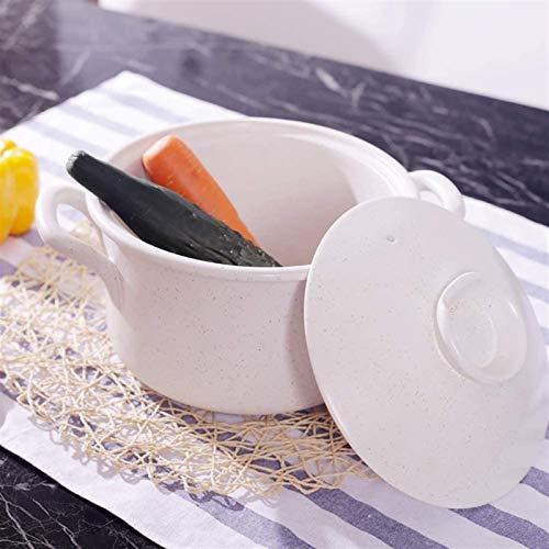 YAOSHUYANG Pentola per zuppa Casseruola in Ceramica Antiaderente, casseruola in Ceramica, Vaso di Terracotta di zuppa di Cipolla in cerotto Profondo Sano pentole Bianco 3.17Quart