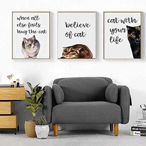 Drucken auf Leinwand-Schwarze Katze Buchstaben Leinwand Wandkunst Druckposter und druckt dekorative Bilder für Wohnzimmer WohnkulturFrameless Malerei60x80cmx3pcs