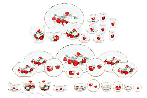 zamonji 50 Pieces Dollhouse Dining Service Set - Straberry Pattern Gold Grim