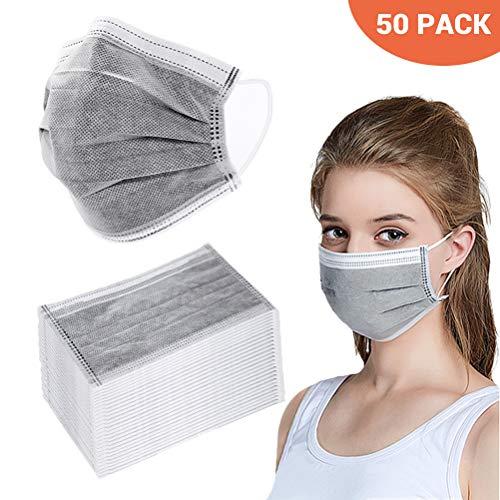 BSMEAN Maschere facciali usa e getta 50 pezzi filtro a carbone attivo a quattro strati maschere traspiranti per filtro antipolvere maschere copri bocca con passante elastico