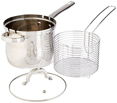 4 QT Stainless Deep Fryer Basket Set - Deep Fryer Kit - Stovetop Deep Fryer With Basket & Glass Lid