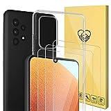 4 Pack-Compatible con protector Samsung Galaxy A32 5G,ANEWSIR cristal templado,Contiene 3 * Protector de Pantalla y 1 * Funda