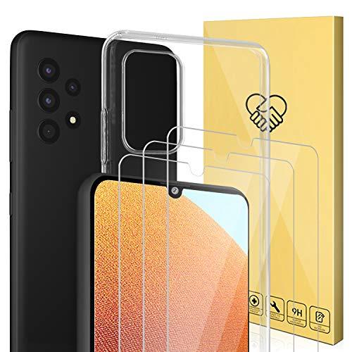 ANEWSIR Cristal Vidrio Compatible con Samsung Galaxy A32 5G,Contiene 3 Pack Protector de Pantalla y 1 Pack Funda - 4 Pack