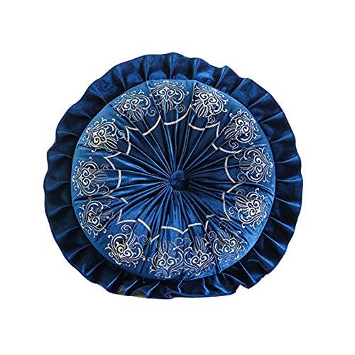 YQ WHJB Ricamato Cuscino di Lancio,Velluto Solido Cuscini per Sedia,Balcone Finestra Pad Cuscino Cuscino della Sedia Casa Decorativa G Diametro40cm(16inch)