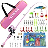 PLUSINNO Kids Fishing Pole with Spincast Reel Telescopic Fishing Rod Combo Full Kits for Boys,...