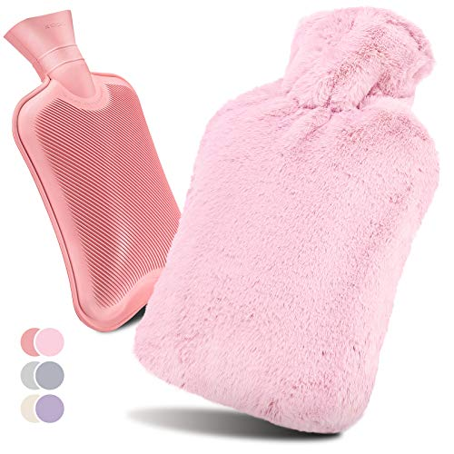 UMHeLL Wärmflasche mit Bezug, Auslaufsicher Hohe Wärmeleitfähigkeit Gummi Wärmflasche passend Plüschbezug mit Gummiband Design Effektiv 5-7 Stunden warm halten, 2 Liter Wärmflasche Heimgebrauch (Rosa)