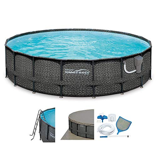 Summer Waves Elite Wicker 18ft x 48in Round Above Ground Frame Pool Set & Pump
