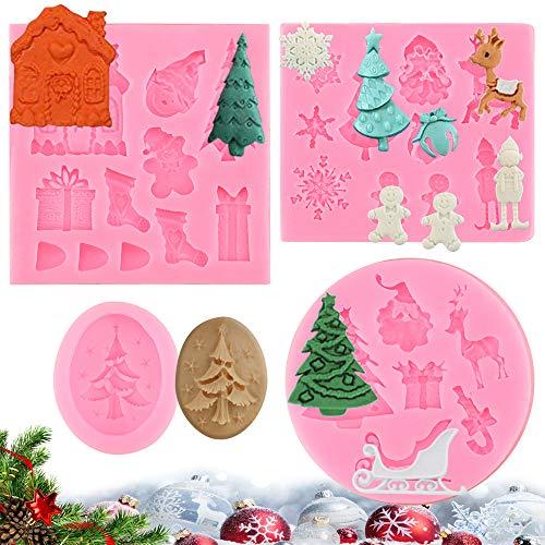FAVENGO 4 Pcs Moldes de Silicona Navideños Moldes Silicona Navidad Molde Bombones Molde Desmontable Silicona Moldes Fondant Moldes 3D silicona Navideños para Bombones de Chocolate Caramelos Tartas