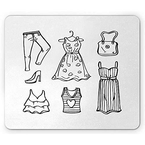 25X30CM Kleid Mauspad, handgezeichnete Doodle Outfit High Heels Jeans T-Shirts Geldbörse und Blumenkostüm, Rechteck rutschfeste Gummi Mousepad