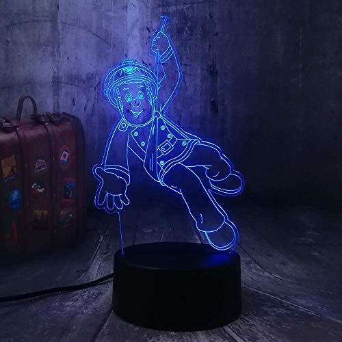 Sam Firefighter 3D Night Light 7 Couleur Led Enfants Night Light Télécommande Tactile Usb Lampe De Bureau Enfant Anniversaire Cadeau De Noël Maison Chambre Décoration Lampe De Chevet