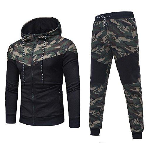 Tonsee Herren Sport Mantel Hose, Herbst Winter Warme Mode Zipper Kapuzenpulli Camouflage Strickjacke Mode Kapzen Pullover Mantel + Hosen Set Sport Anzug Slim Fit Trainingsanzug (Camouflage, M(48))
