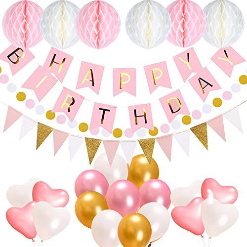 AceLife Geburtstagsdeko, Geburtstag Party Dekorationen Set für Mädche Jungen Frauen, Happy Birthday Girlande mit Luftballons und Wabenbälle Papier, Geburtstag Dekoration Rosa Weiß Pink Gold