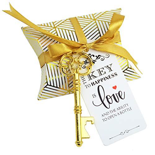 結婚式のお土産ギフトセット 50個 枕キャンディボックス ビンテージ スケルトン 鍵 栓抜き エスコート ギフト カード サンキュータグ フレンチリボン BPOGD#750