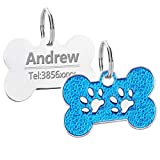 Collares personalizados para perros y gatos Arneses Hoja para perros sin etiquetas Collar grabado con identificación personalizada para el nombre del perro Teléfono Productos para mascotas-Azul