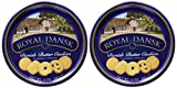 Royal Dansk 81997 Danish Butter Cookies (Pack of 2), Blue Flat Display, Reusable Classic Tin Filled, Made of Real Butter, No Preservatives or Coloring Added, Net Weight 12 Ounce (340 gr)