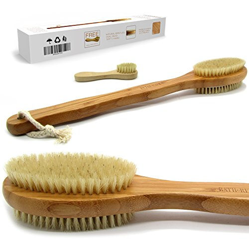 Bath & Relax Bamboo Bath Brush Long 17' Handle Back Body Scrubber For shower dry/Wet Skin brushing Suitable for men/women