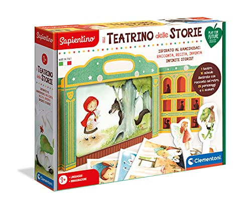 Clementoni 16253 Sapientino – Das Theater der Geschichten – Lernspiel für Kinder 3 Jahre – Kamishibai aus 100% recyceltem Karton, Play for Future – Made in Italy, Mehrfarbig