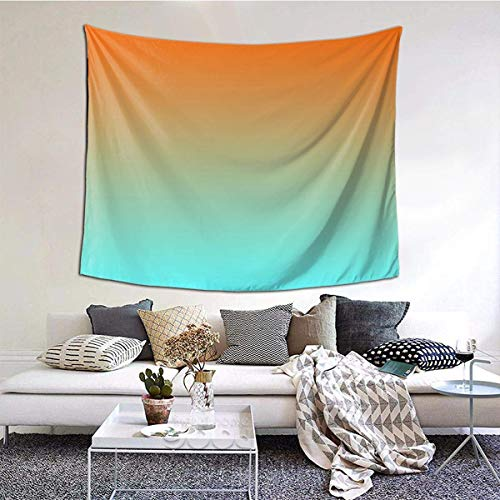 baowen Light Aqua Orange Ombre Tapiz de Pared Colgante de Pared Manta de Pared Arte de la Pared Decoraciones Dormitorio Sala de Estar Dormitorio 60X51 Pulgadas