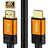 IBRA 2M Orange Cable de HDMI de Ultra Alta Velocidad Cable de 18Gb/s HDMI 2.0b Soporte 4K@60Hz Fire TV, Ethernet, Retorno de Audio,Video UHD 2160p,HD 1080p,3D, Xbox Playstation PS3 PS4 PC