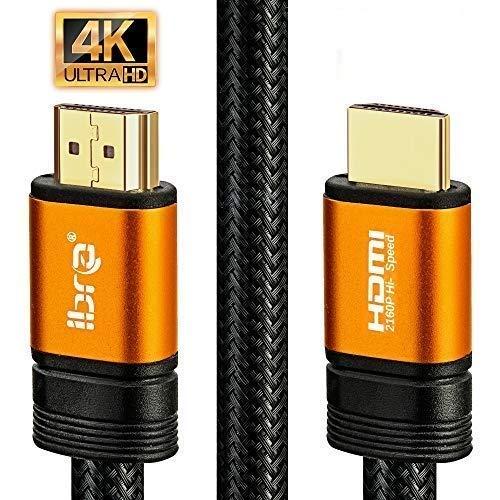 4K HDMI Kabel 2M HDMI 2.0b Kabel 4K@60Hz HighSpeed 18Gbps Nylon Geflecht Vergoldete Anschlüsse mit Ethernet/Audio Rückkanal,Kompatibel mit Video 4K UHD 2160p,HD 1080p,3D Xbox PS4 - IBRA ORANGE
