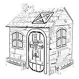 JW-MZPT Mini House Rural Cardboard Playhouse Cardboard Playhouse pour Enfants à colorier avec marqueurs Outdoor Intérieur DIY Cadeau de Peinture pour Enfants