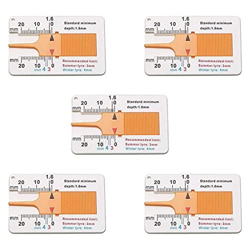 5 Piezas Medidor Profundidad Banda Rodadura,Calibre de Profundidad del Neumático de Plástico,Regla de Plástico Profundidad, para Motocicleta, Caravana o Remolque,Naranja
