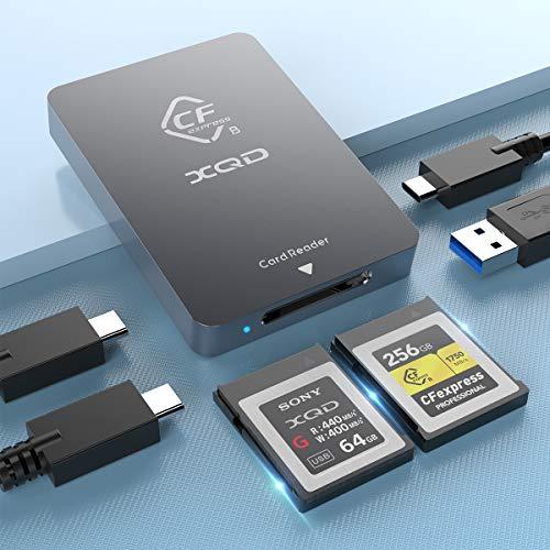 CFexpressType B XQD Card Reader USB 3.1 Gen 2 10Gbps CFexpress Reader Portable Aluminum CFexpress Memory Card Adapter Thunderbolt 3 Port Connection Support Android/Windows/Mac OS