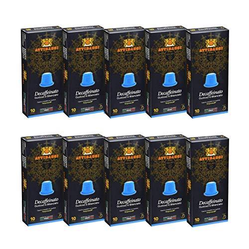 Attibassi Nespresso ® * Coffee Capsules Italian Espresso Decaf, 100 Pods